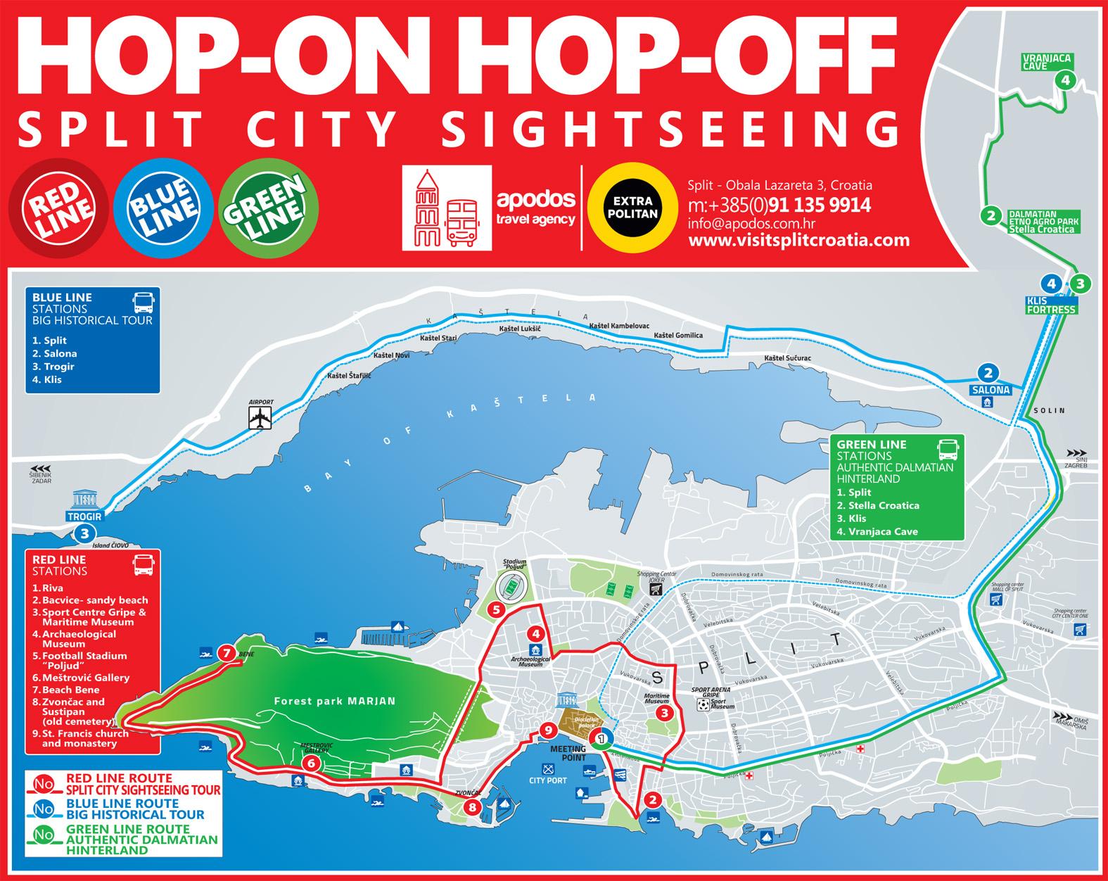 split hop-on hop-off bus tour