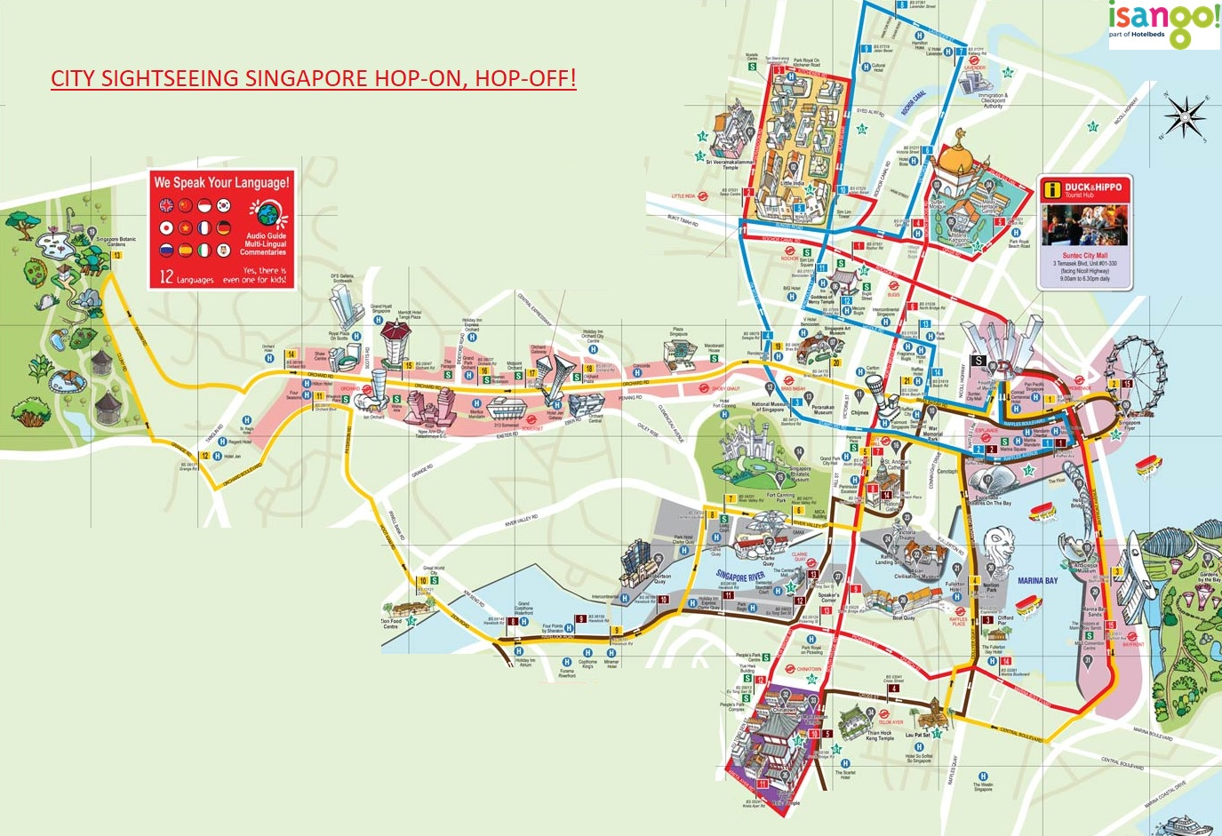 New Zealand Sightseeing Map.City Sightseeing Singapore Hop On Hop Off Bus Tour
