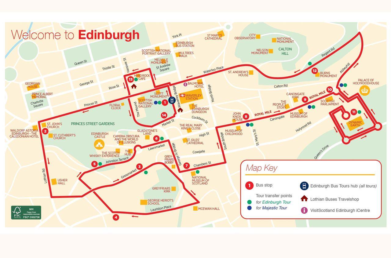 Map Edinburgh.City Sightseeing Edinburgh Hop On Hop Off Tour