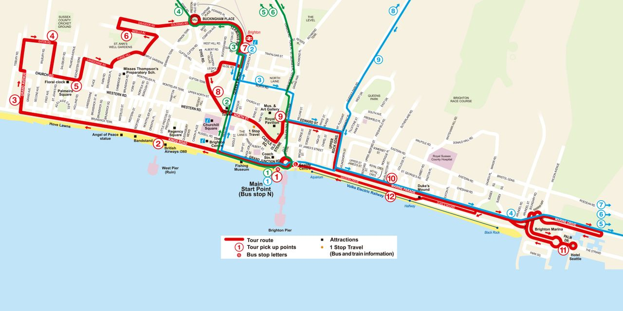 Brighton Bus Map Brighton Hop On Hop Off Tour