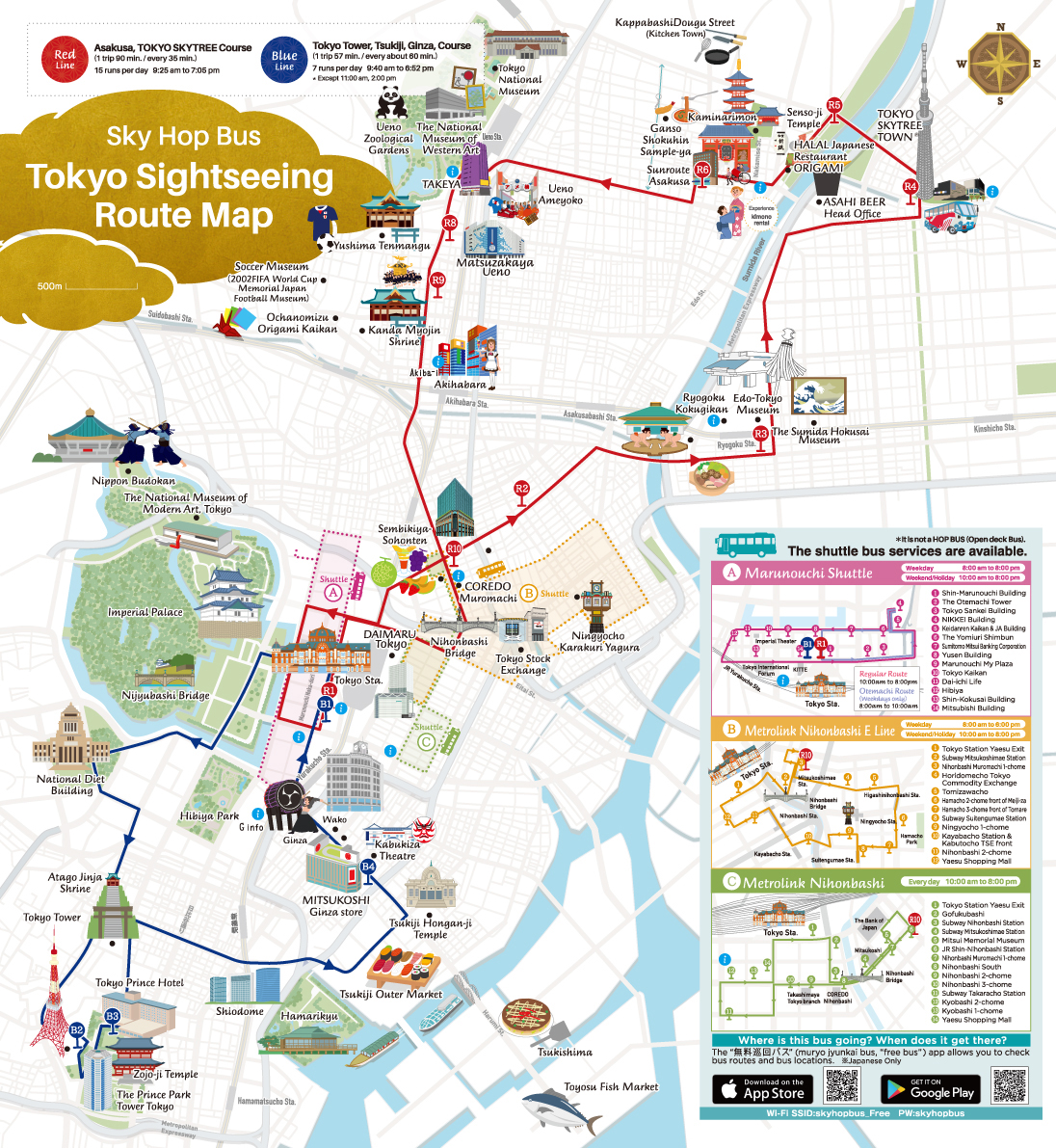 Tokyo Subway Map With Attractions.Skybus Hop On Hop Off Bus Tour