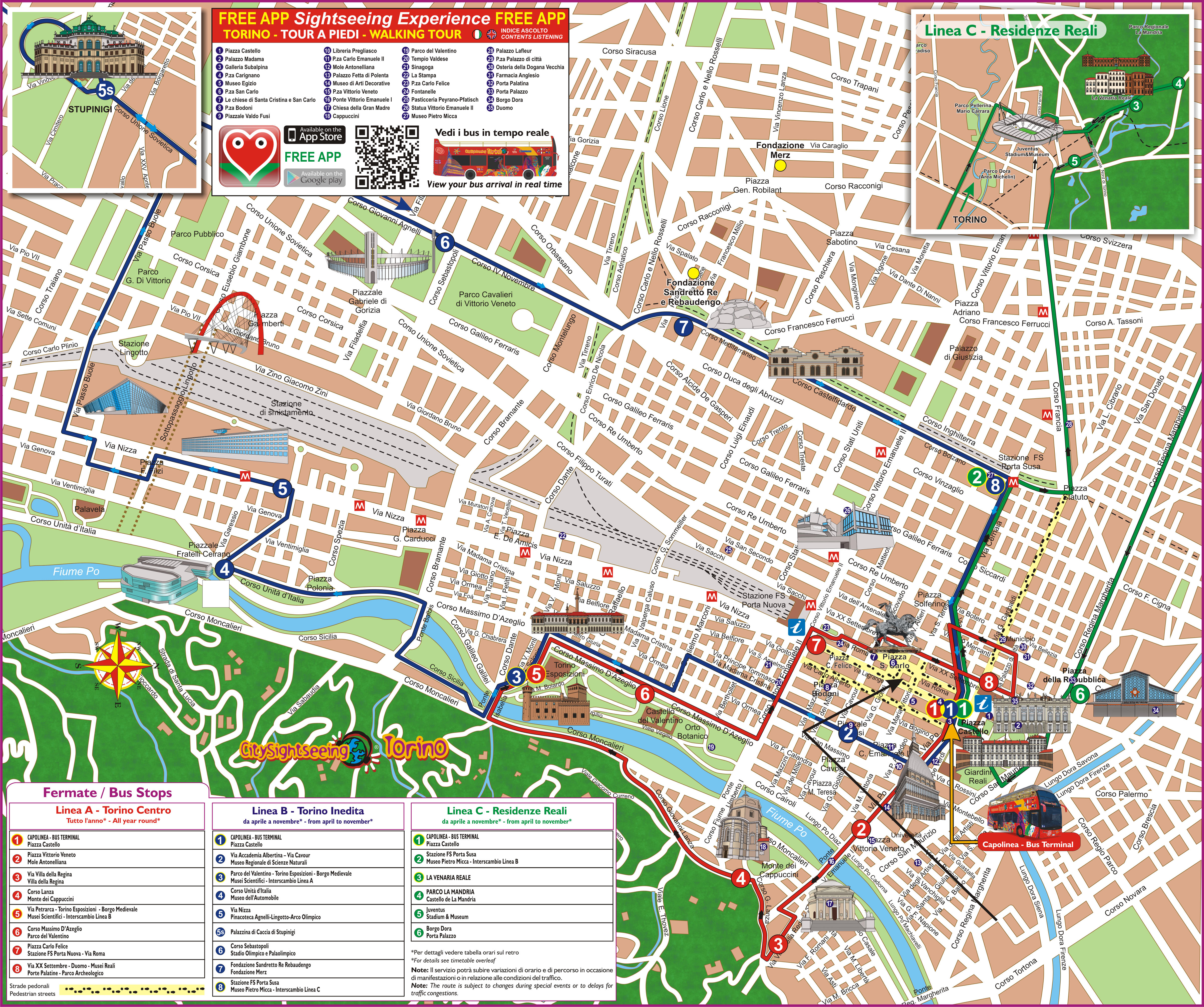 Hop-On Hop-Off Sightseeing Tour in Turin, Royal Palast, Savoy, Mole ...