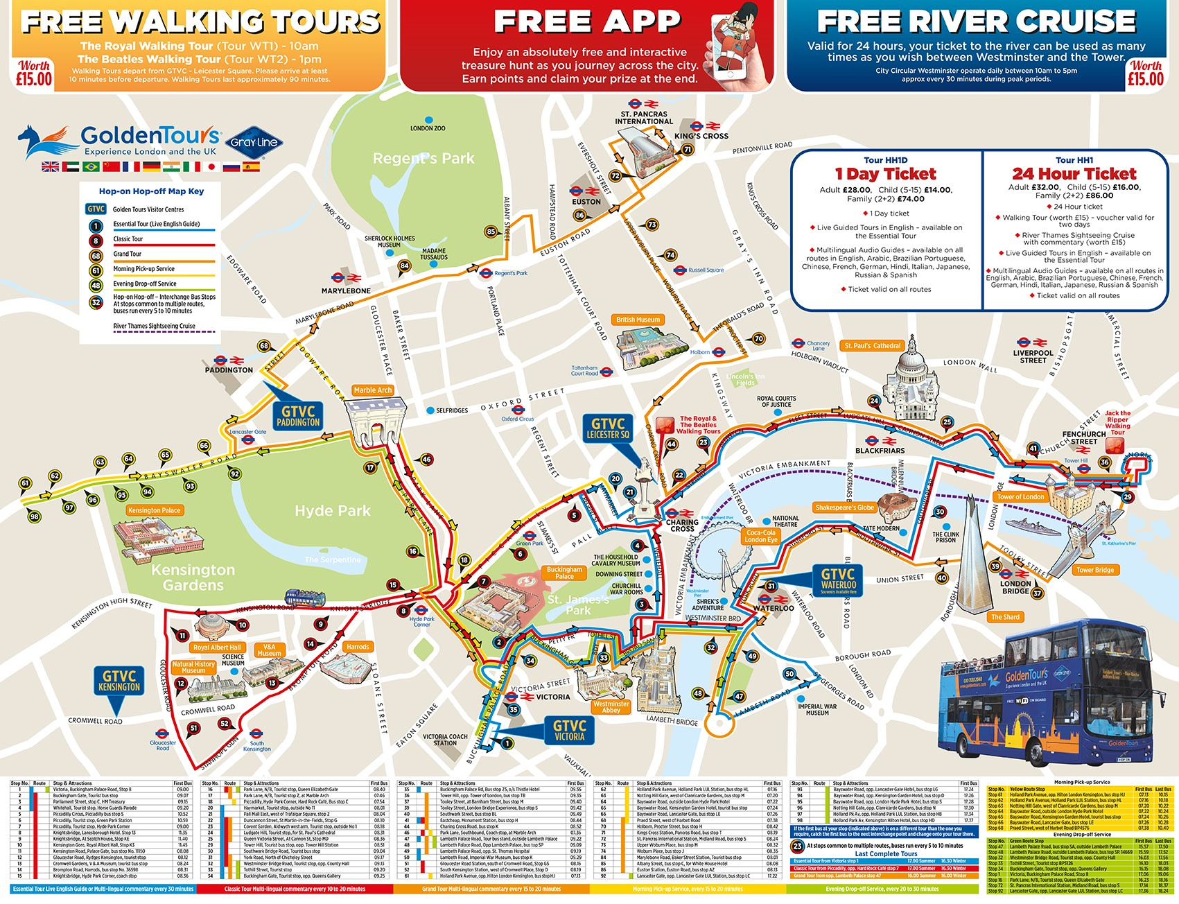 Golden Tours London Hop-On, Hop-Off Tour - 4 Routes and